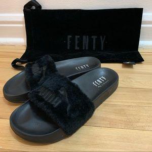 Fenty x Puma Black Fur Slides